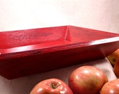 Decorative Wood Serving Tray Kitchen Decor, Red