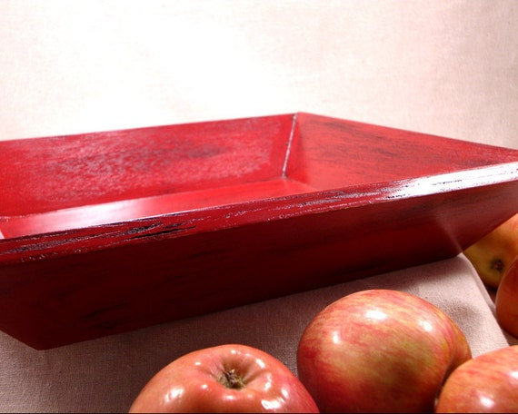 Decorative Wood Serving Tray Kitchen Decor Red By Event29