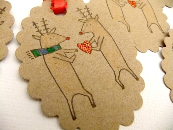 Love from Reindeer Tags/Cards Set of 6