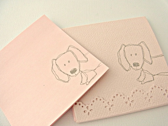 Peekaboo Dachshund Adhesive Backed, Reposition 30 Sheets Pack - Light Pink