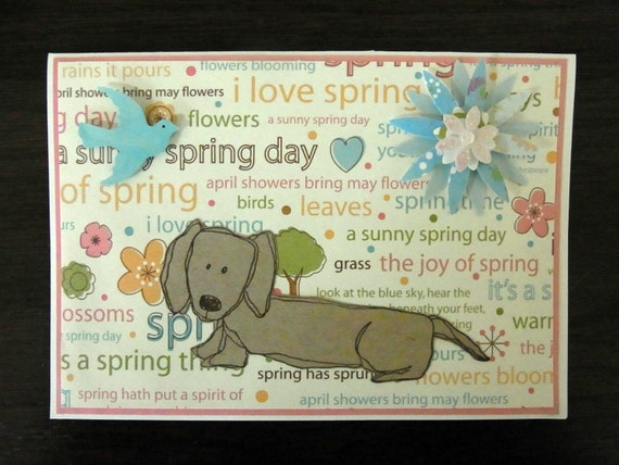 Hello Dog in Spring Card and Envelope