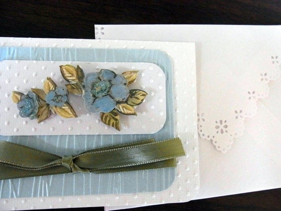 Blue Flowers with Olive Green Bow