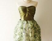 CLEARANCE SALE / Free Ship -Vintage Fantasy -  Finale Balloon Skirt Dress in Purple- Elegant Green Shade XS-S