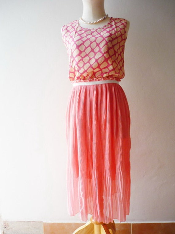 Retro Love Pink Maxi Dress Fit XS/S/M