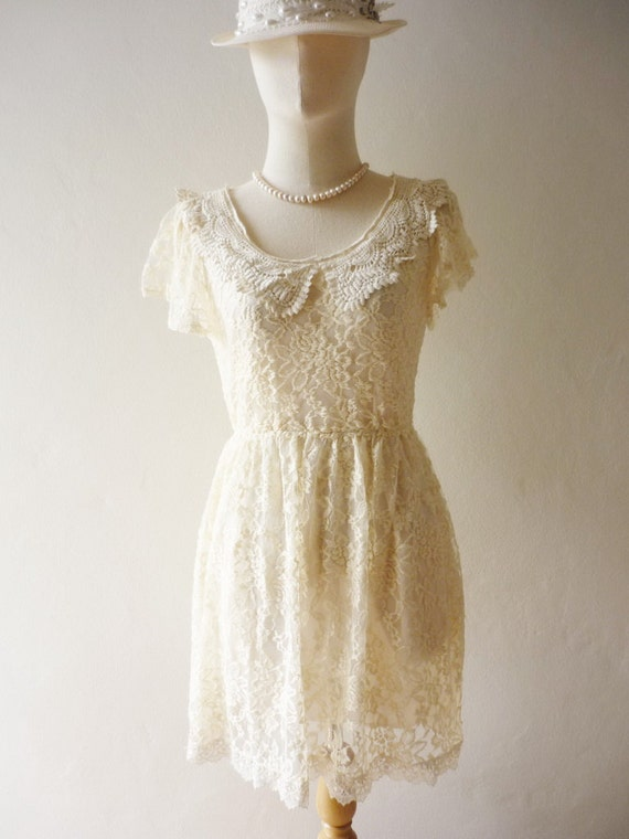 Fairy Dress- Cream Color - Classic Short Fringe Sleeve Princess Lace Dress- Fit S-M-