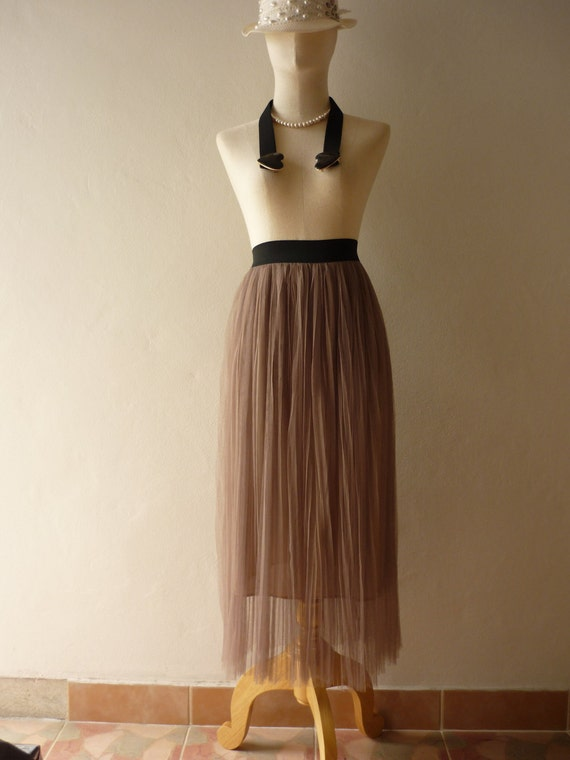 Im a Tulle SKIRT, sometimes a Mini DRESS - Hobo Beige Vintage Inspired Playful Tutu Long Skirt Mix and Match