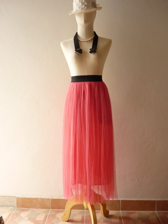 Im a Tulle SKIRT, sometimes a Mini DRESS - Pink Pink Vintage Inspired Playful Tutu Long Skirt Mix and Match