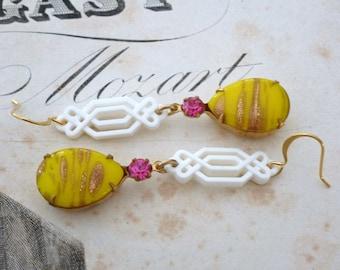 Vintage Rhinestone Art Deco Nouveau Retro Gold Lemon Yellow Boho Earrings