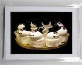 Blank Photo Holiday Cards (set of 5): Snowmen Cupcakes - Season's Greetings