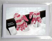 Blank Photo Holiday Cards (set of 5): Pink Gloves in Snow (Season's Greetings)