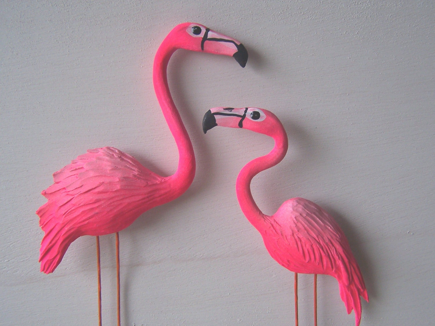 Pink flamingo art sculpture wall decor by artistjp on etsy for Pink wall art