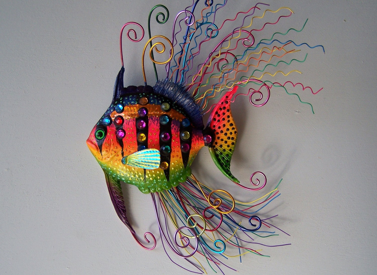 Fish art sculpture whimsical wall fish art for Fish wall sculptures