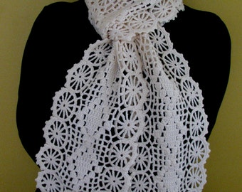 Crochet Four Seasons Flower Garden Chic Scarf - Ready to Ship