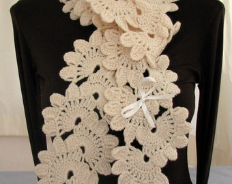 Cream Color Leaves Crochet Scarf - Ready for Shipping