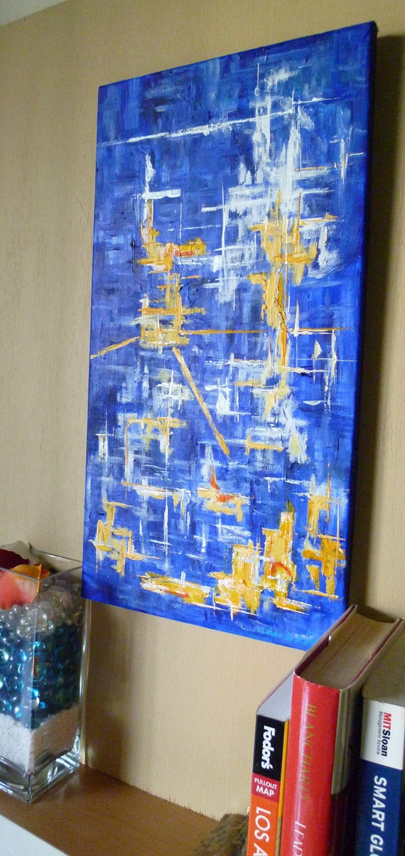 "Acrylic  abstract painting on canvas.  Titled "" Quiet Night"" . Size10"" x 20"" staples on back stretched canvas."
