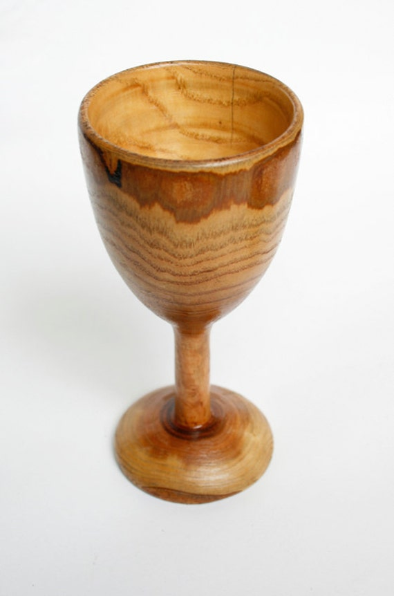 White wine goblet made of wood