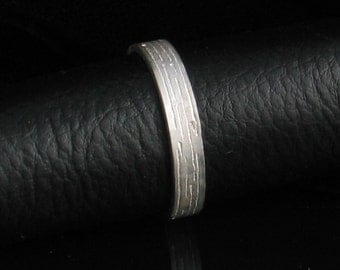 Custom Stamped Sterling Silver Ring 4mm Band Horizontally Textured Single Side- Personalized - Unisex