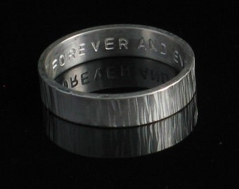 Custom 5mm Sterling Silver Ring Vertical Texture Band Light Single Side Stamping - Personalized Stamped Unisex