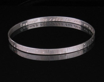 Handmade Personalized Sterling Silver Bangle Bracelet 4mm - Custom Stamped Remembrance Memory Inspirations
