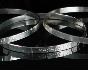 Handmade Sterling Silver Bangle Set 3 Stacking 4mm Inspirations - Stamped Personalized Memory Remembrance
