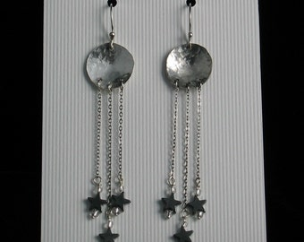 Handmade Sterling Silver Disc Moon and Star Earrings