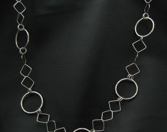 "Convertible 24"" Argentium Sterling Silver Chain Necklace - Handmade"