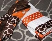 Orange Giraffe Minky Bib and Burp Cloth Set