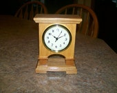 Handmade Small desk or mantel Clock,hickory