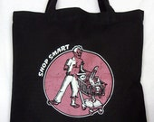 SALE - Zombie Tote Bag Shop Smart Cotton Screenprint, long handles (great for brains and other groceries) LAST ONE