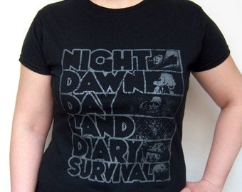 Zombie T-shirt Screenprint Romero Night of the Living Dead Series, Ladies sizes S, M, L, XL