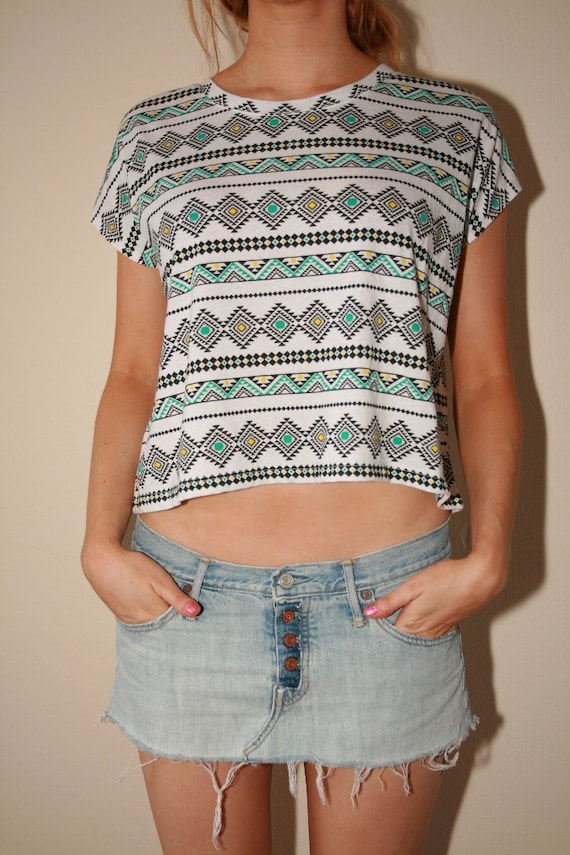 Native Southwestern Dreamcatcher Spirit Peekaboo Festival Crop Top