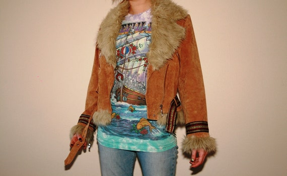 Suede Southwestern Aztec Faux Fur Navajo Upcycled Bomber Jacket
