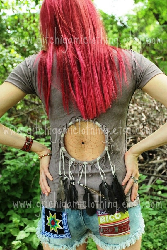 Native Dreamcatcher Cut Out Festival Feathers Headress Suede Top