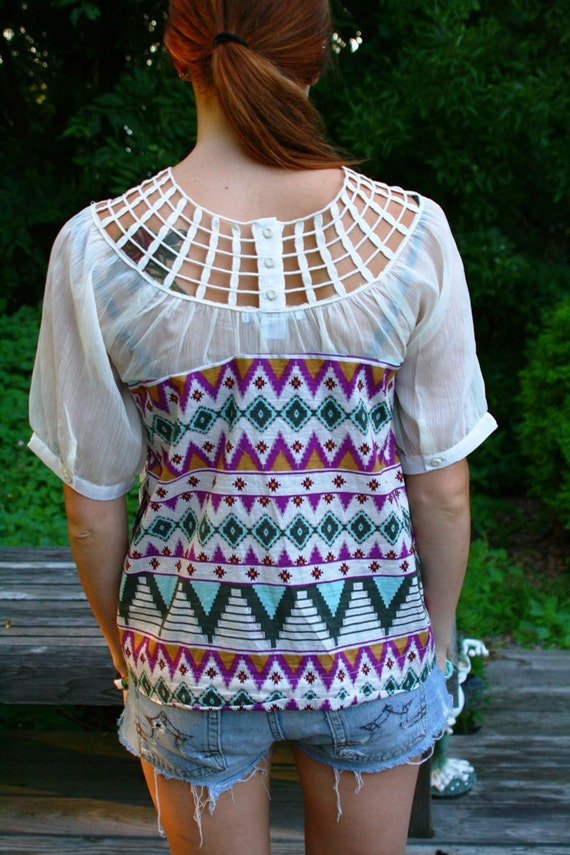 SALE Southwestern Cut Out Navajo Netted Top