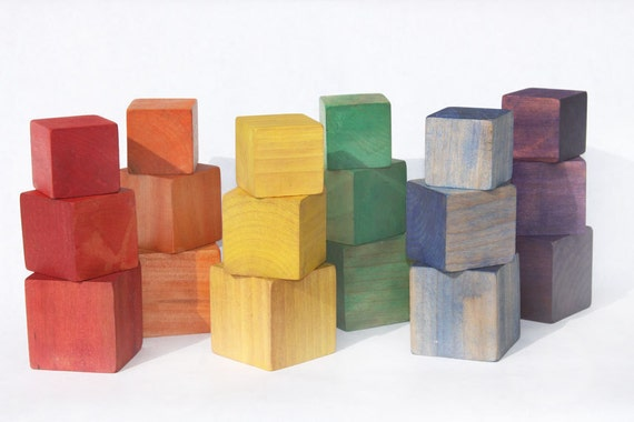 Rainbow colors sort, count and build block set.    Great for Toddlers and children.