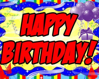 Happy Birthday Laminated Placemat / Personalized Party Favor