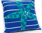 Pillow -  starfish blue green  felt-applique, polka dot, down-filled, 17 inch throw pillow