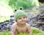 SALE Crochet Frog Hat newborn, 0-3, 3-6, 6-12, 12-24 months 2-5 years girl boy beanie