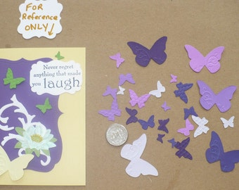 25 Tiny Embossed Butterfly / Butterflies Shapes from Stampin Up Beautiful Wings Die - Die Cut pieces made Purples Cardstock