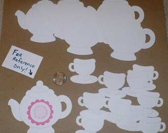 5 Sizzix TeaPot 10 Tea Cups Die Cut Shapes / pieces in White Cardstock