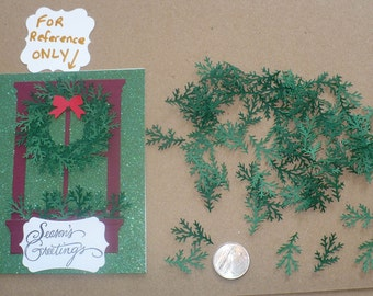 50 pc Pine Branch  /  Shapes /  Punchies / Punches made from asst. Dk Green / Hunter color Cardstock Paper