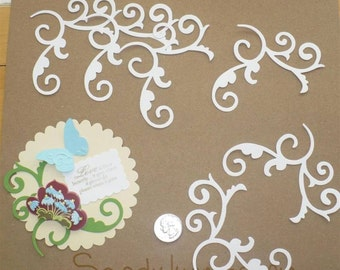 Sizzix Accent Corner  Die Cut /  Craft Scrapbook  Die Cuts from White Cardstock for cards DIY Crafts