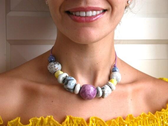 Raku necklace,bold beads, organic, lemon and lavanda Amalfi terrace