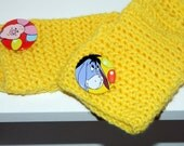SALE unisex fingerless gloves yellow crochet with removable buttons of Winnie the pooh characters for children