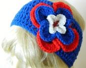 SALE Flower HEADBAND- Blue Red Headband