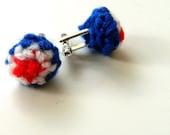 SALE 4th July Cufflinks - crochet cufflinks