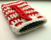 SALE Easter Phone Case- red beige stripes case- phone cozy