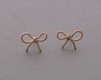 FORGET ME KNOT Bow Earrings - All in 925 sterling silver - Rose Gold Vermeil