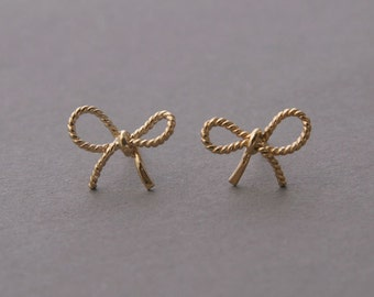 FORGET ME KNOT Bow Earrings - All in 925 sterling silver - Yellow Gold Vermeil