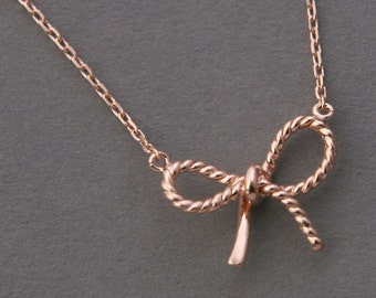 FORGET ME KNOT Bow in 925 Sterling Silver with 14k Rose Gold Vermeil Necklace